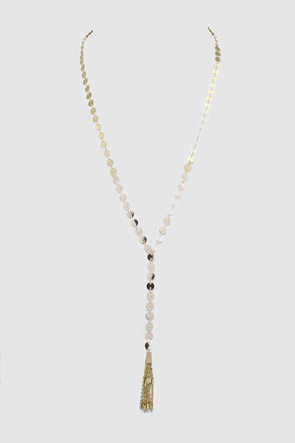 Disc Chain With Tassel Y Shape Necklace