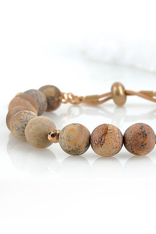 Natural Stone and Metal Bead Bracelet