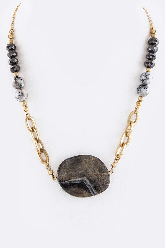 Natural Stone Geo Pendant & Mix Bead Chain Necklace