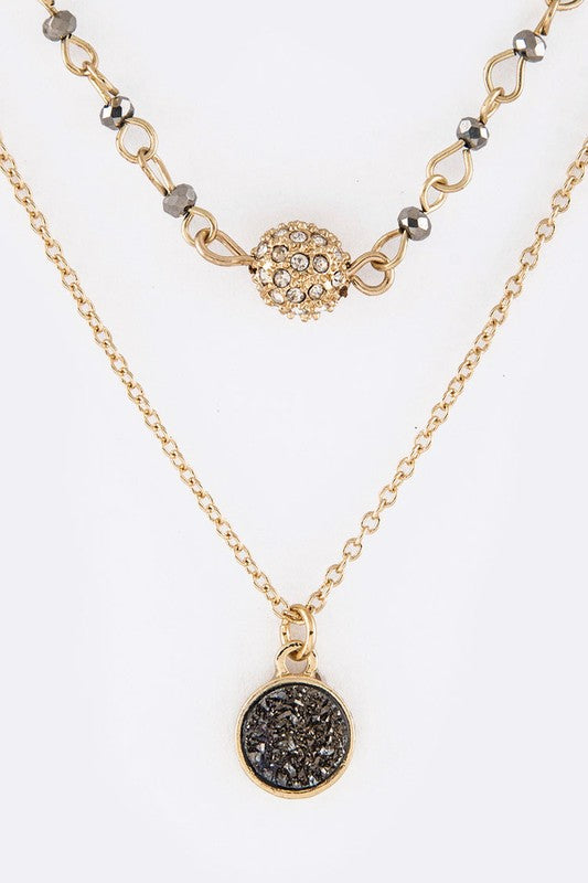 Crystal Ball & Stone Disk Necklaces Set