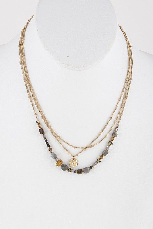 Multi Assorted Bead Layered Necklace With Disc