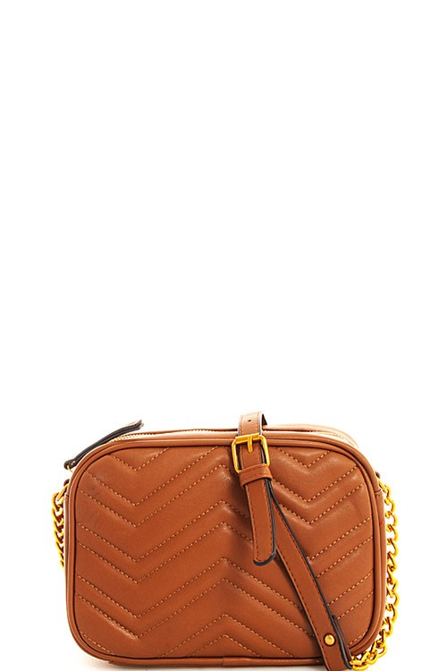 Chevron Stitched Crossbody Bag