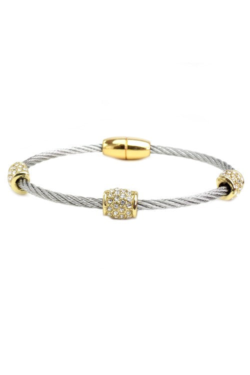 Two Tone Twisted Cable Cubic Zirconia Pave Magnetic Bracelet