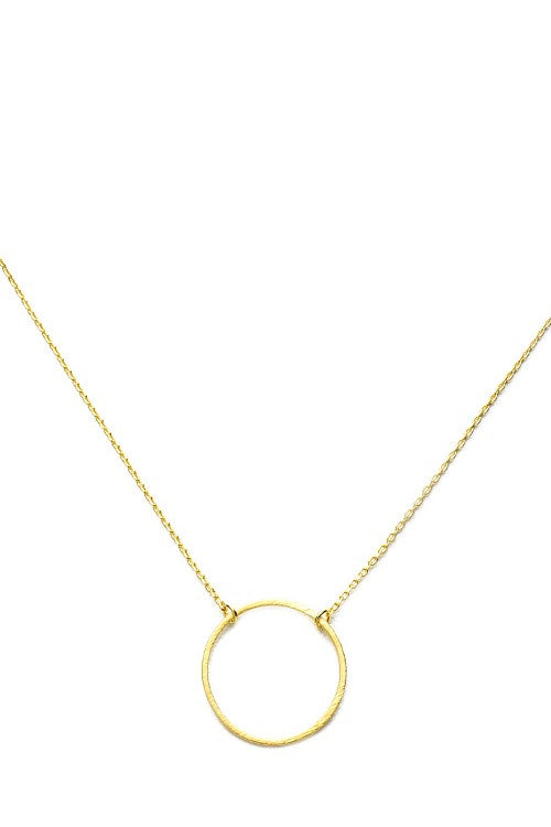 Brushed Gold Thin Open Circle Pendant Necklace