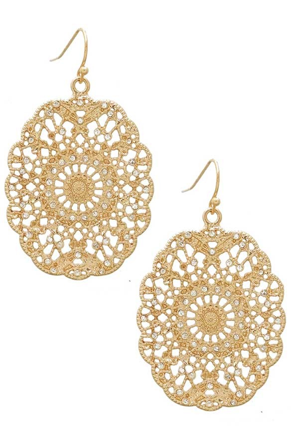 Filigree Oval Ornate Floral Earrings