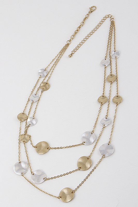 Hammered Metal Layered Necklace