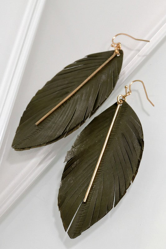Leather Feather Dangle Earrings