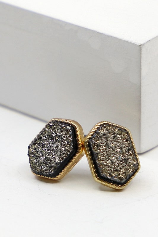 Raw Druzy Hexagonal Stud