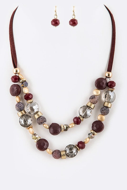 Mix Crystal Suede Layer Necklace Set