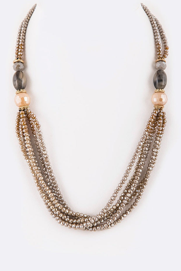 Natural Stone With Crystal Beads Layered Necklace