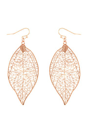 Metal Filigree Leaf Shape Earring