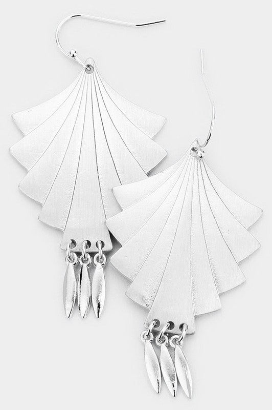 Abstract Fan Dangle Earrings