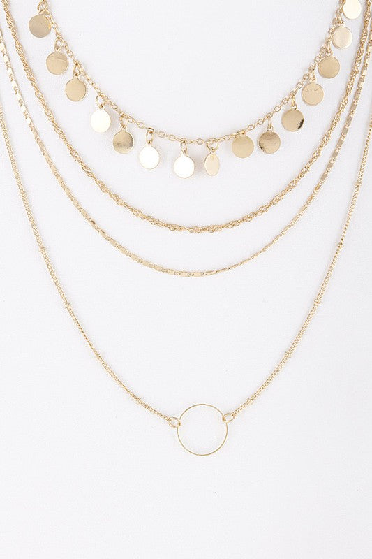 Layered Disc & Circle Charm Necklace
