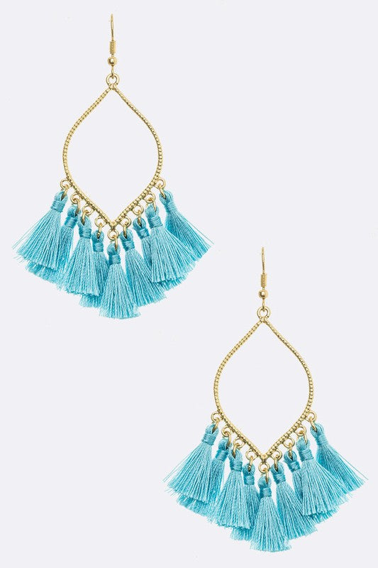 Teardrop With Fabric Tassel Earrings