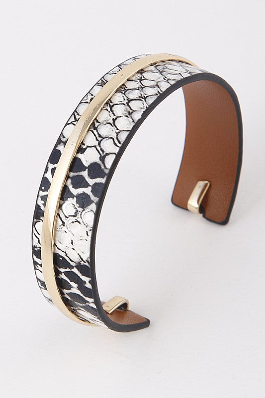 Animal Print Embossed With Metal Accent Open Cuff