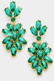 Marquise Glass Crystal Oval Cluster Vine Earrings