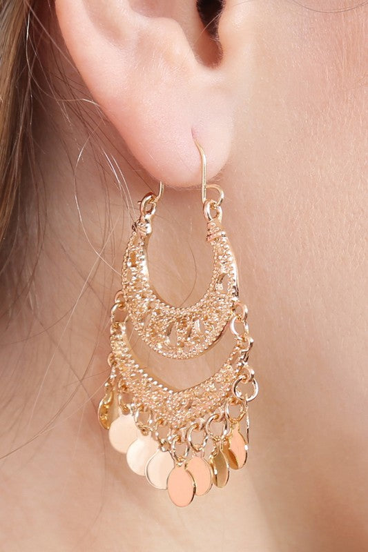 Filigree Metal Disc Earring