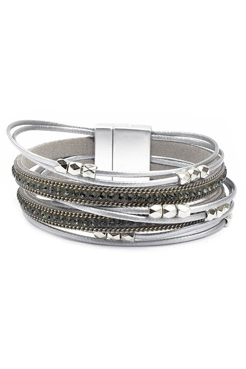 Grey Multi Strand Leather Magnetic Bracelet with Crystals