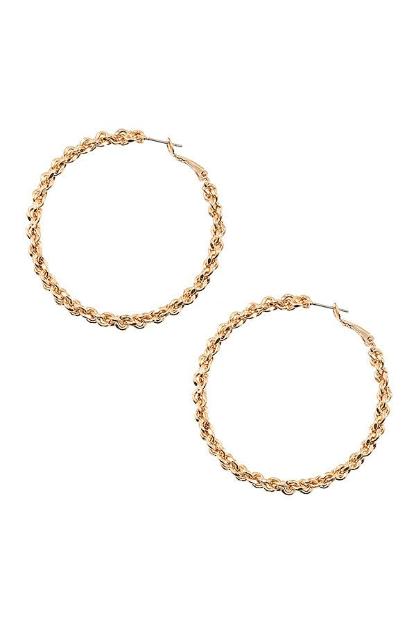 Matte Cable Chain Hoop Earring