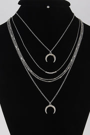 Crescent Pendant Layered Necklace