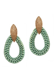 Woven Straw Open-cut Brushed Metal Earring