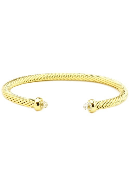 18k Gold Plated Twisted Cable Cuff Bracelet