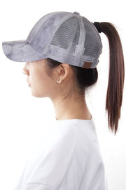 Tie-Dye Ponytail Hat (Grey)