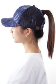 Tie-Dye Ponytail Hat (Blue)