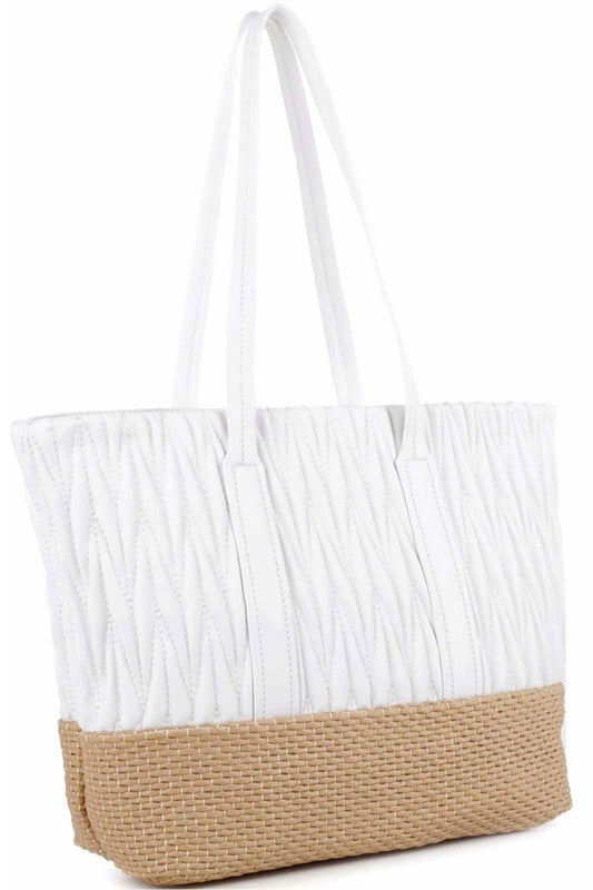 Woven Straw Mixed-Material Quilted Tote