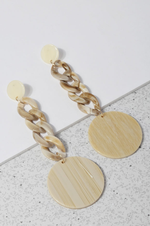 Acetate Chain Link With Disc Drop Earrings