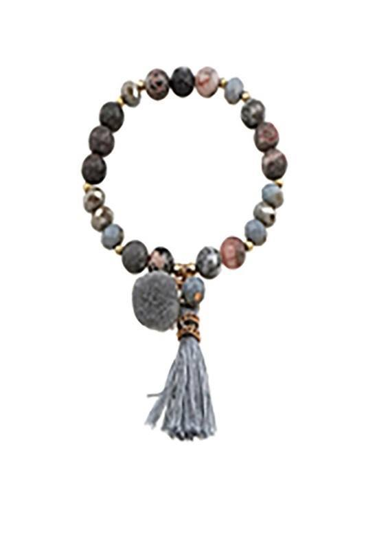Beaded Stretch Bracelet with Pom and Tassel