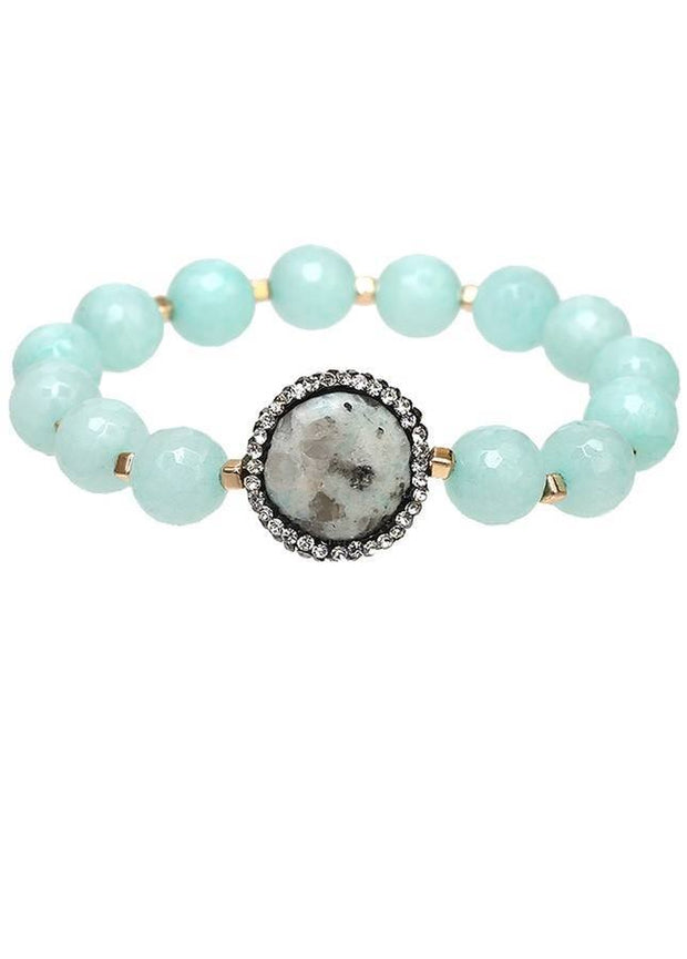 Natural Stone Stretch Bracelet with Crystal Outline Center Stone