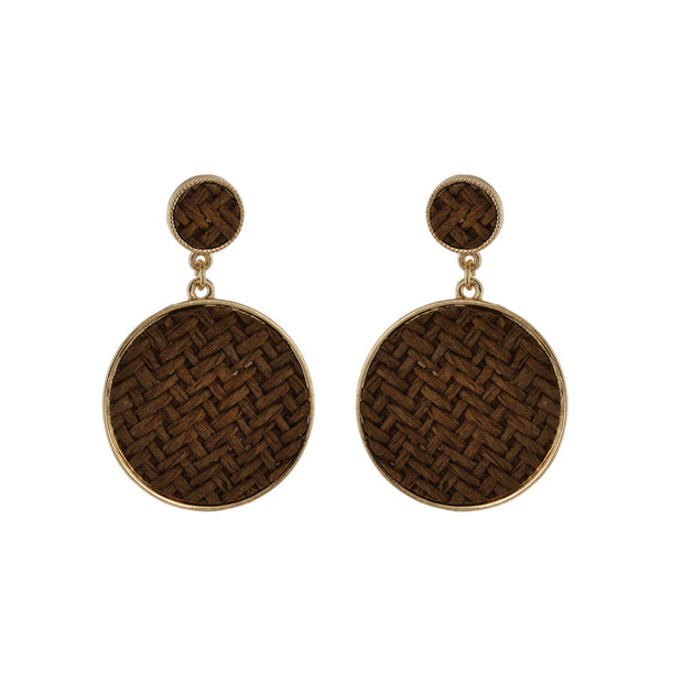 2 CIRCLE WOVEN DROP EARRING