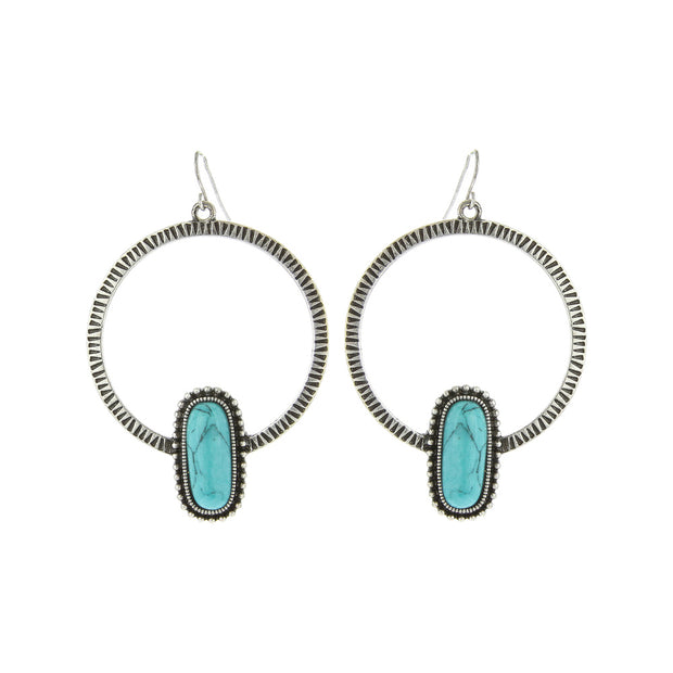Hoop Earring With Oval Stone