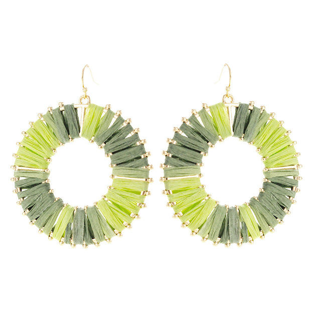 Raffia Wrapped Circle Earring