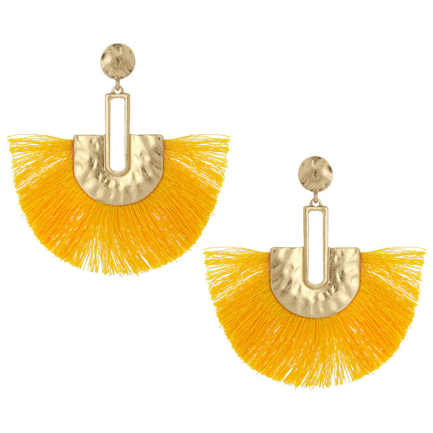 Post With Fabric Fan Tassel Earring