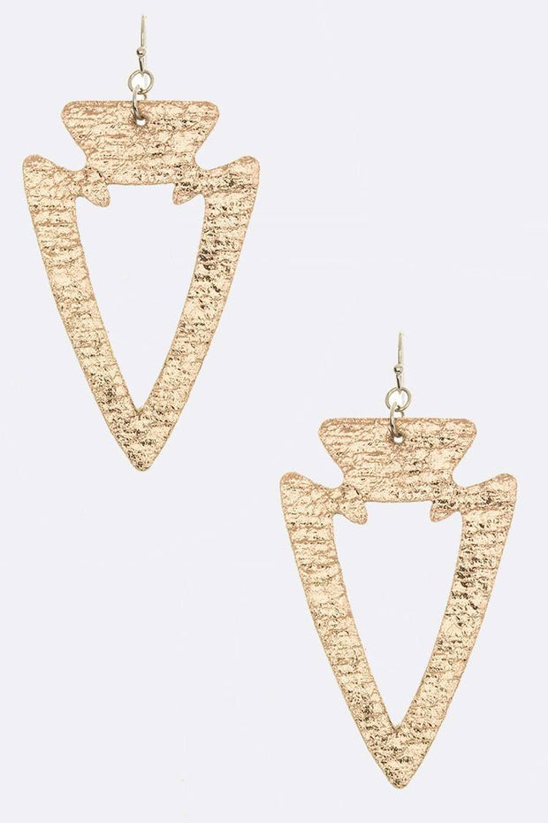 Cutout Leather Arrow Earrings