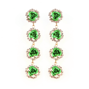 Dangle Rose Earrings with Rhinestone Outline