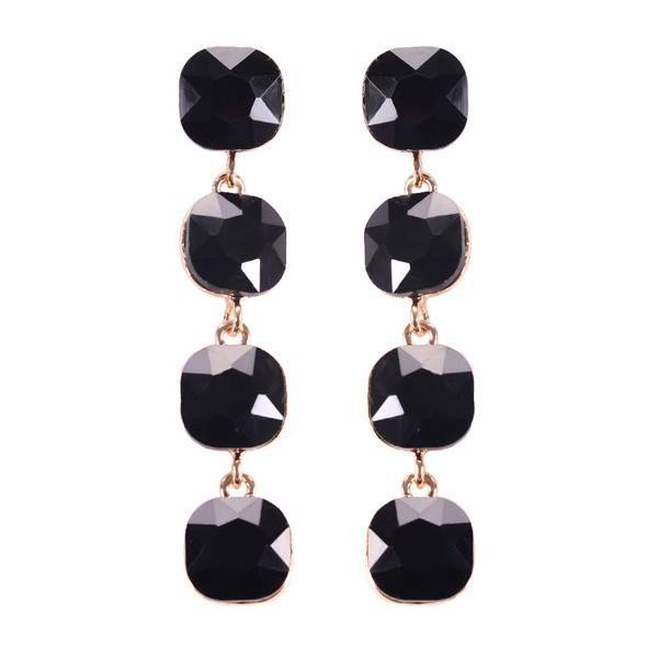 Prism Square Stone Earrings - Black