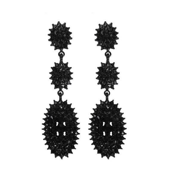 Spike Rhinestone Post Earring with Small Gems