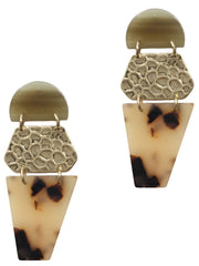 Hammered Metal and Tortoiseshell Combo Earrings