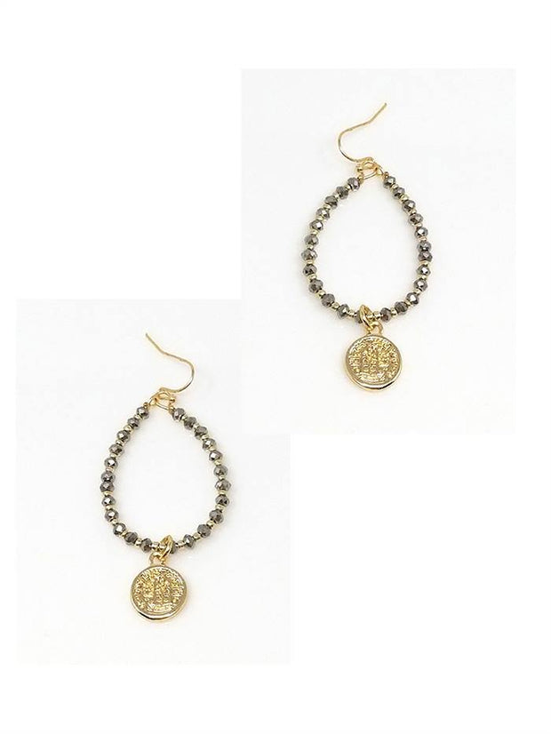 Pearshape Glass Stones Coin Drop Earring
