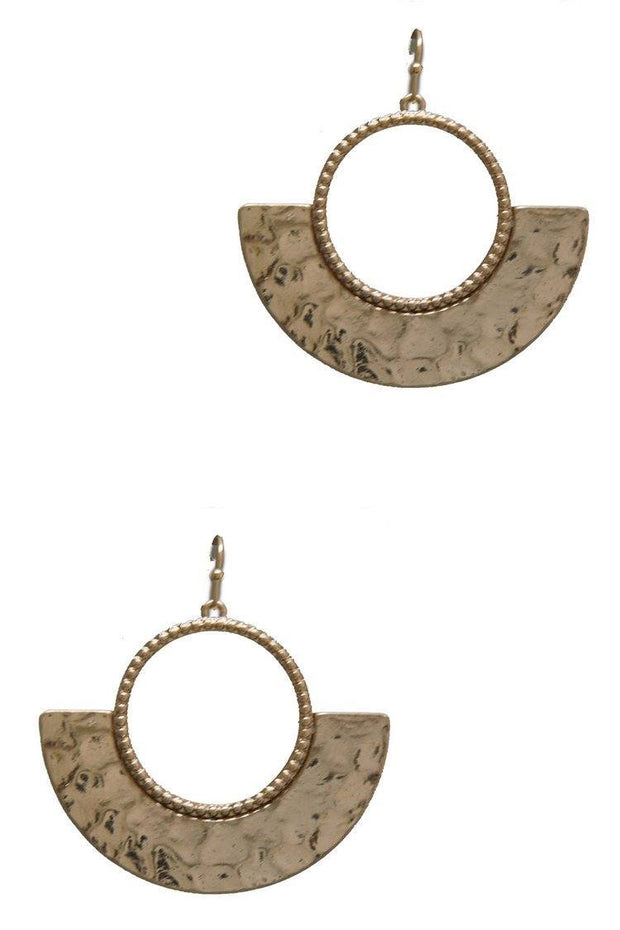 Round Two-Tone Hammered Plate Earrings