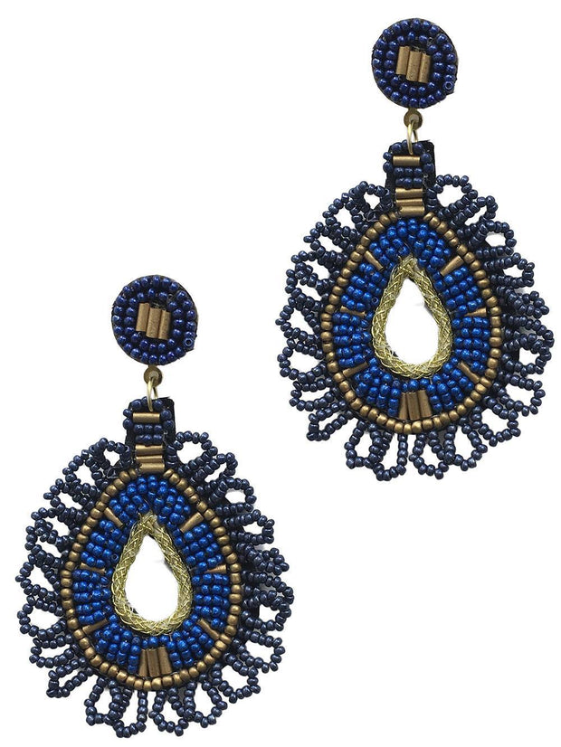 Seed Bead Woven Design Earring