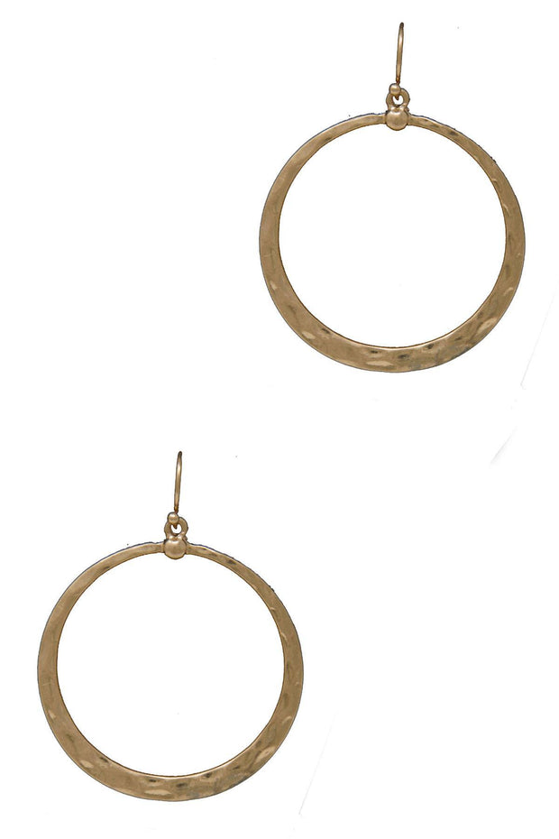 Hammered Design Circle Earrings