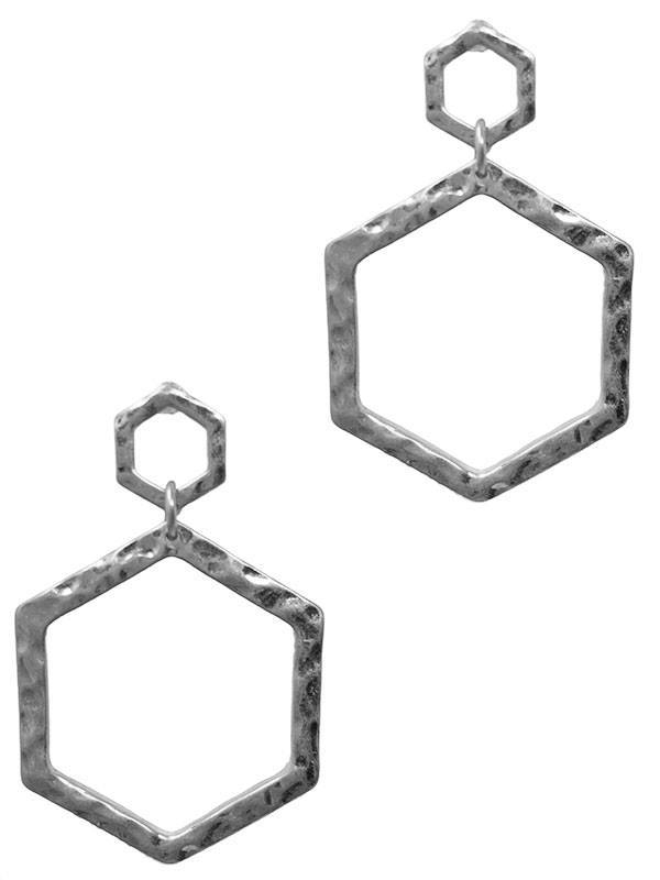 Large 2 Hexagon Dangle Earrings