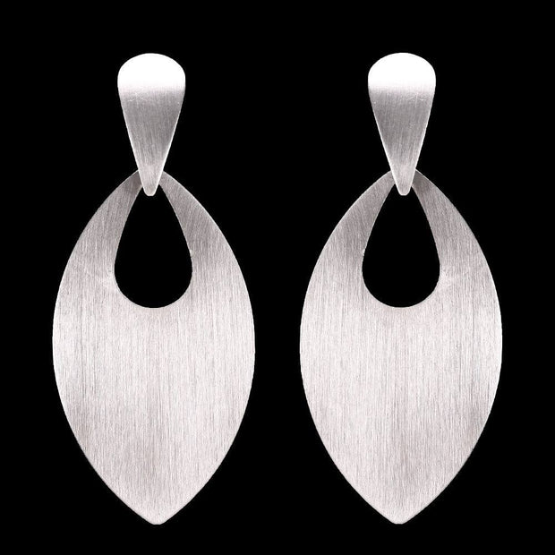 Long Oval Metal Disc Post Earrings
