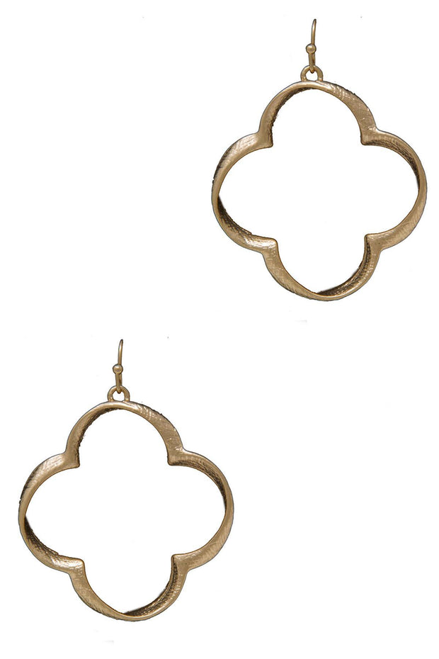 Shiny Quatrefoil Twist Dangle Earrings