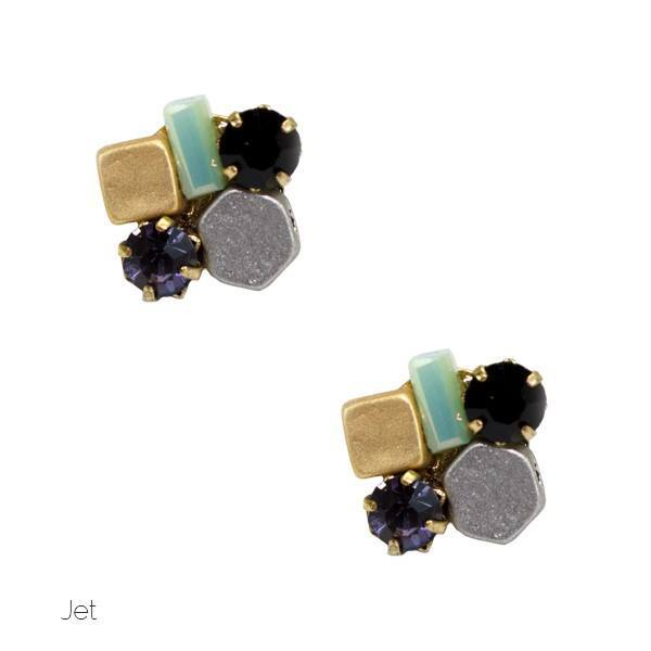 Mixed Metal and Stone Stud Earrings