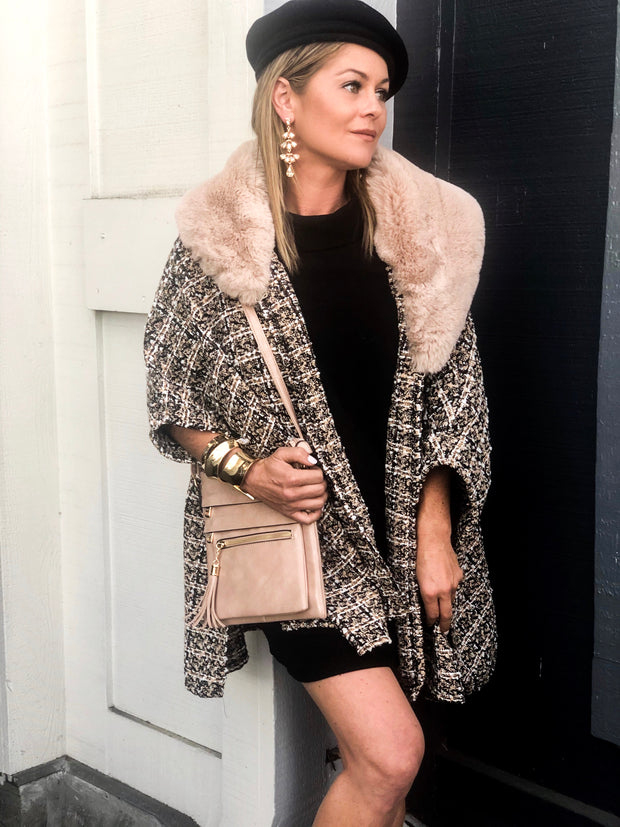 Tweed & Faux Fur Cape